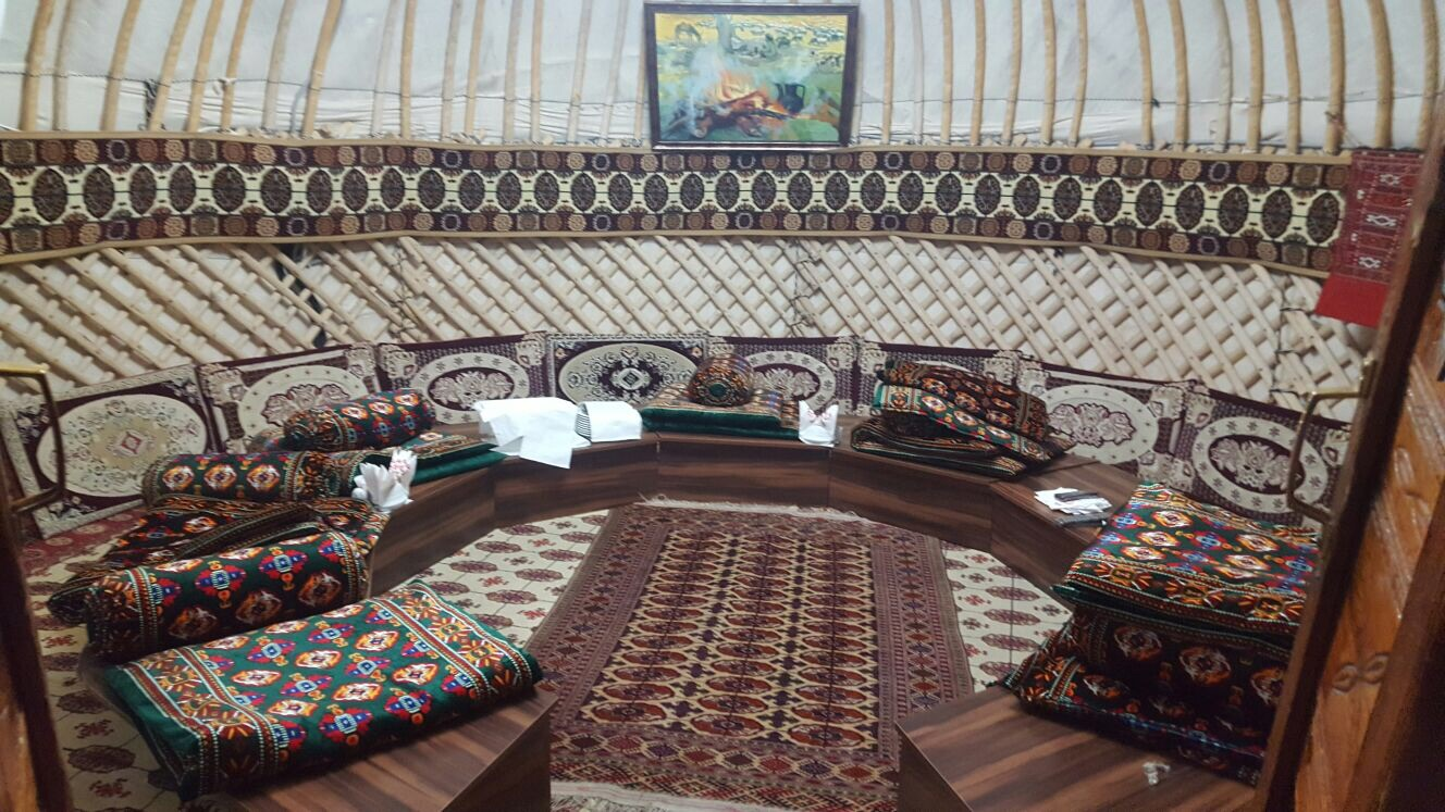 The inside of the yurt.