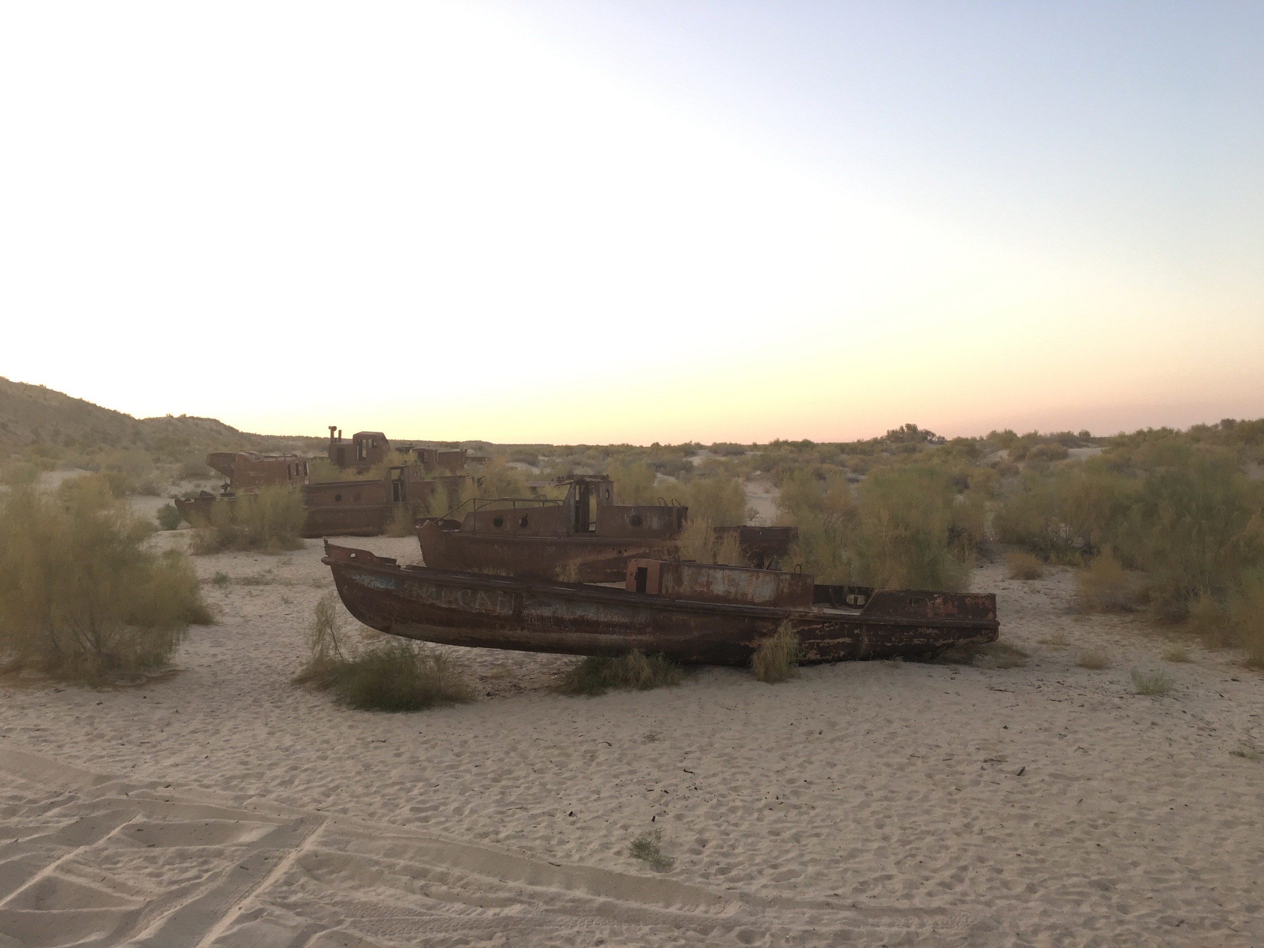 A line of abandoned ships.