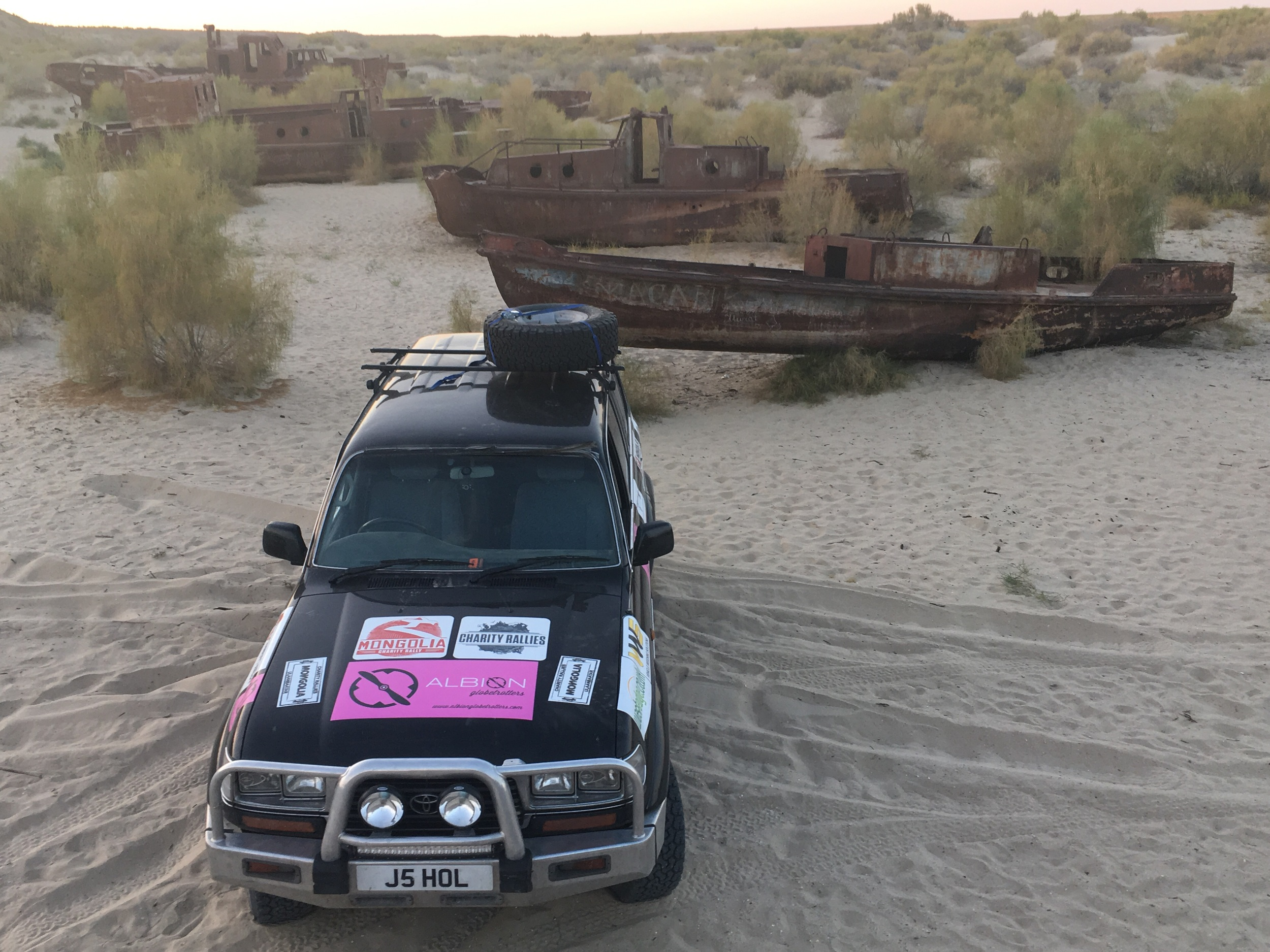 Our car on what used to be the seabed of the Aral Sea.