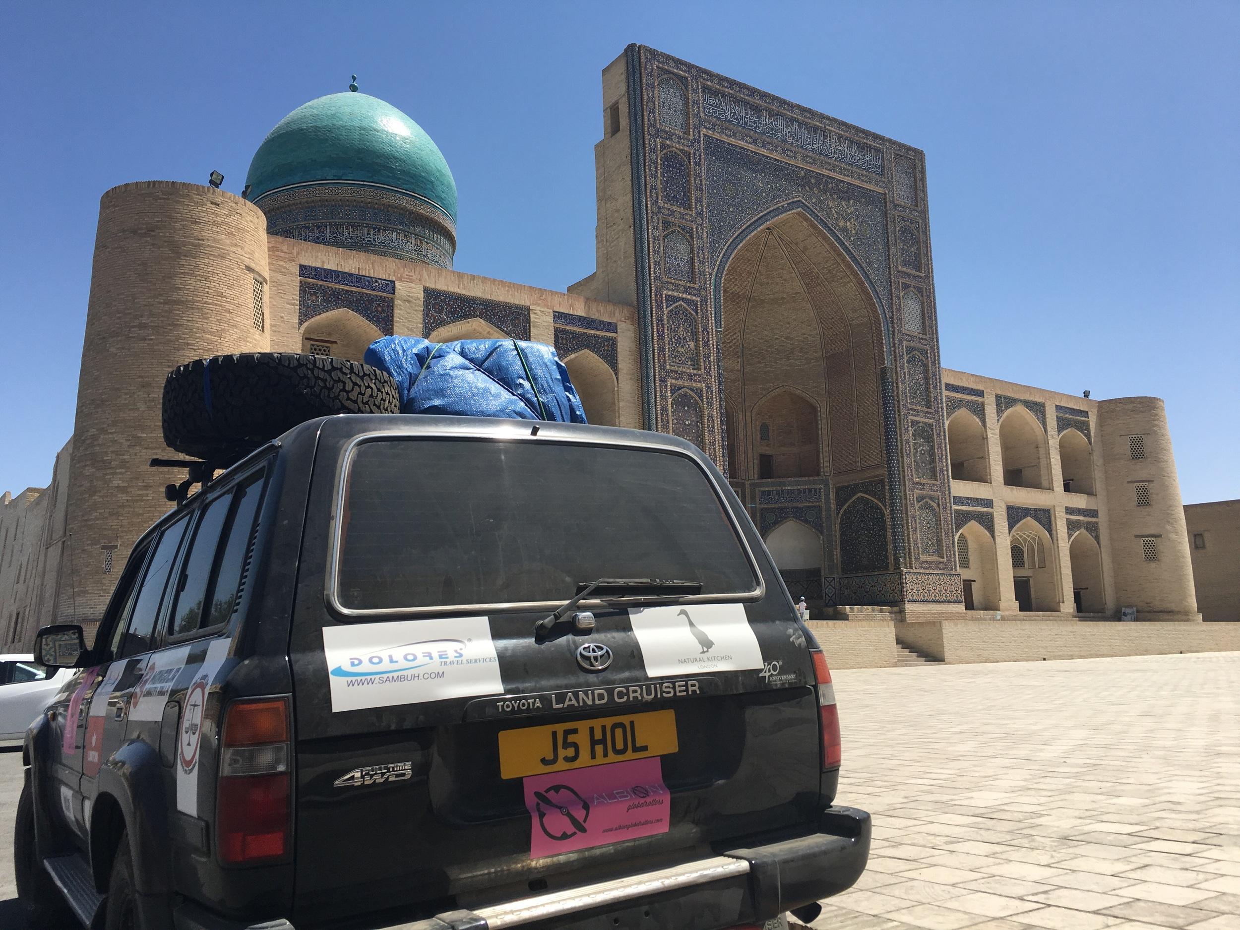 Parked in front of the madrassa in Bukhara.