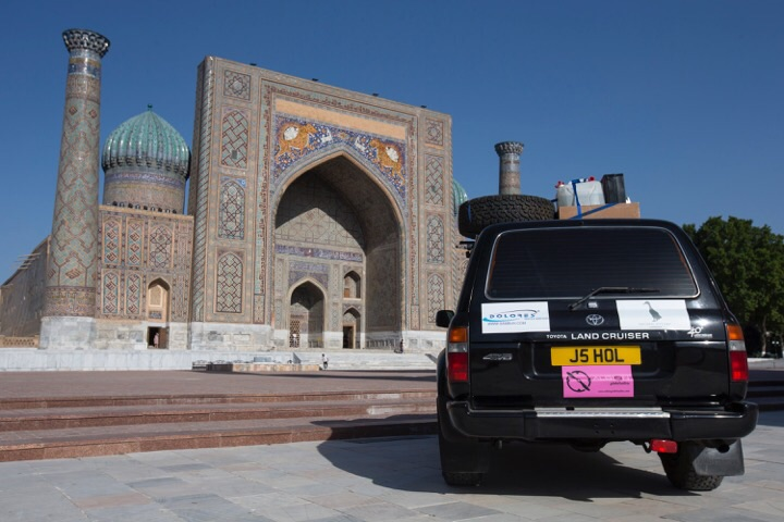 Our car in front in front of Registan