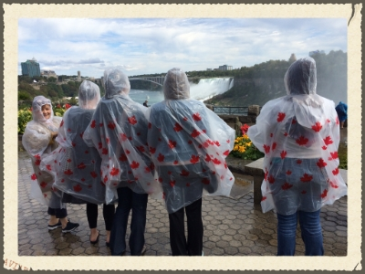 Our American friends in their Canadian ponchos on the Canadian side looking at the American Falls!