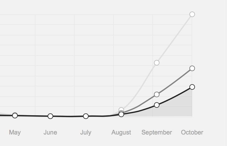 Übersicht über  Page Views (hellgrau), Visits (grau), und Audience/Neue Nutzer (schwarz)