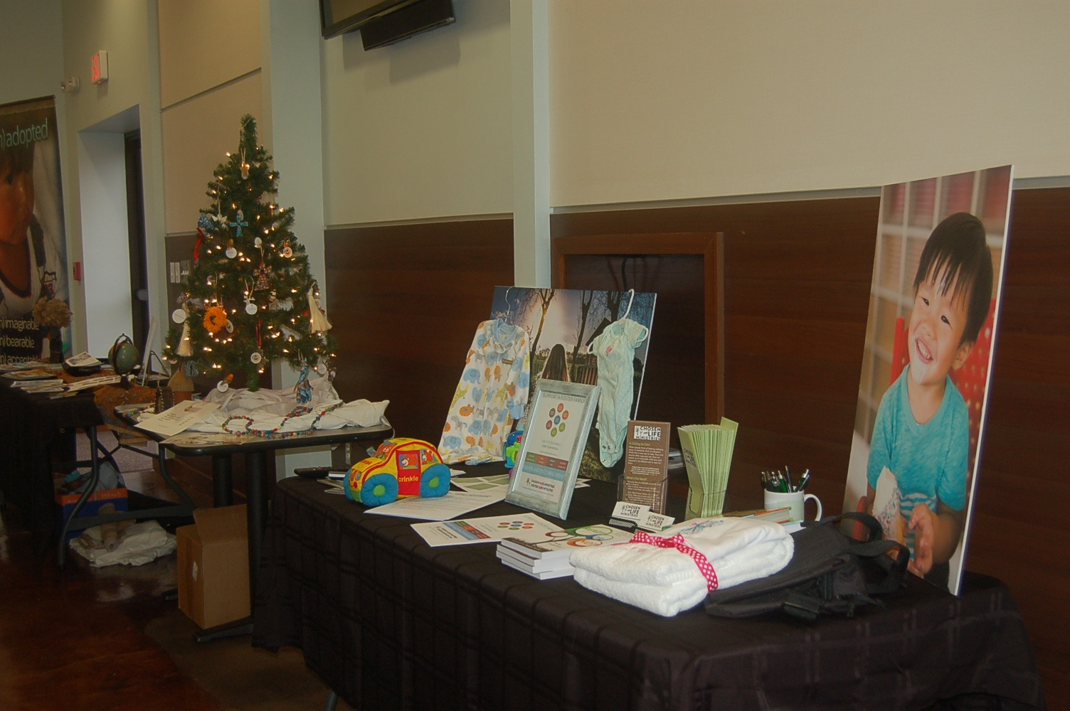 Pictured above are the Chosen for Life and Ornaments for Orphans tables.
