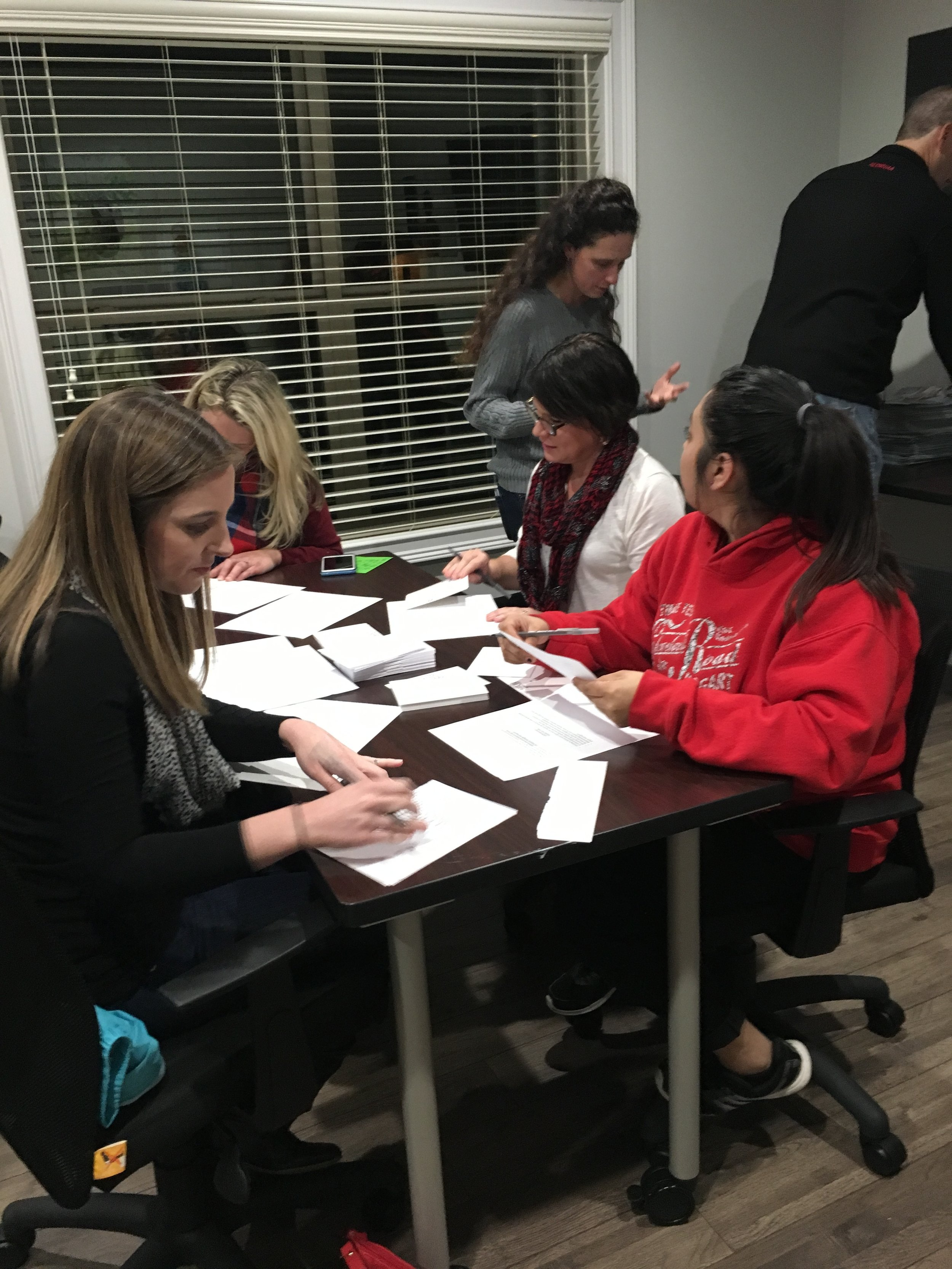 Christmas letters were hand written by these amazing volunteers!