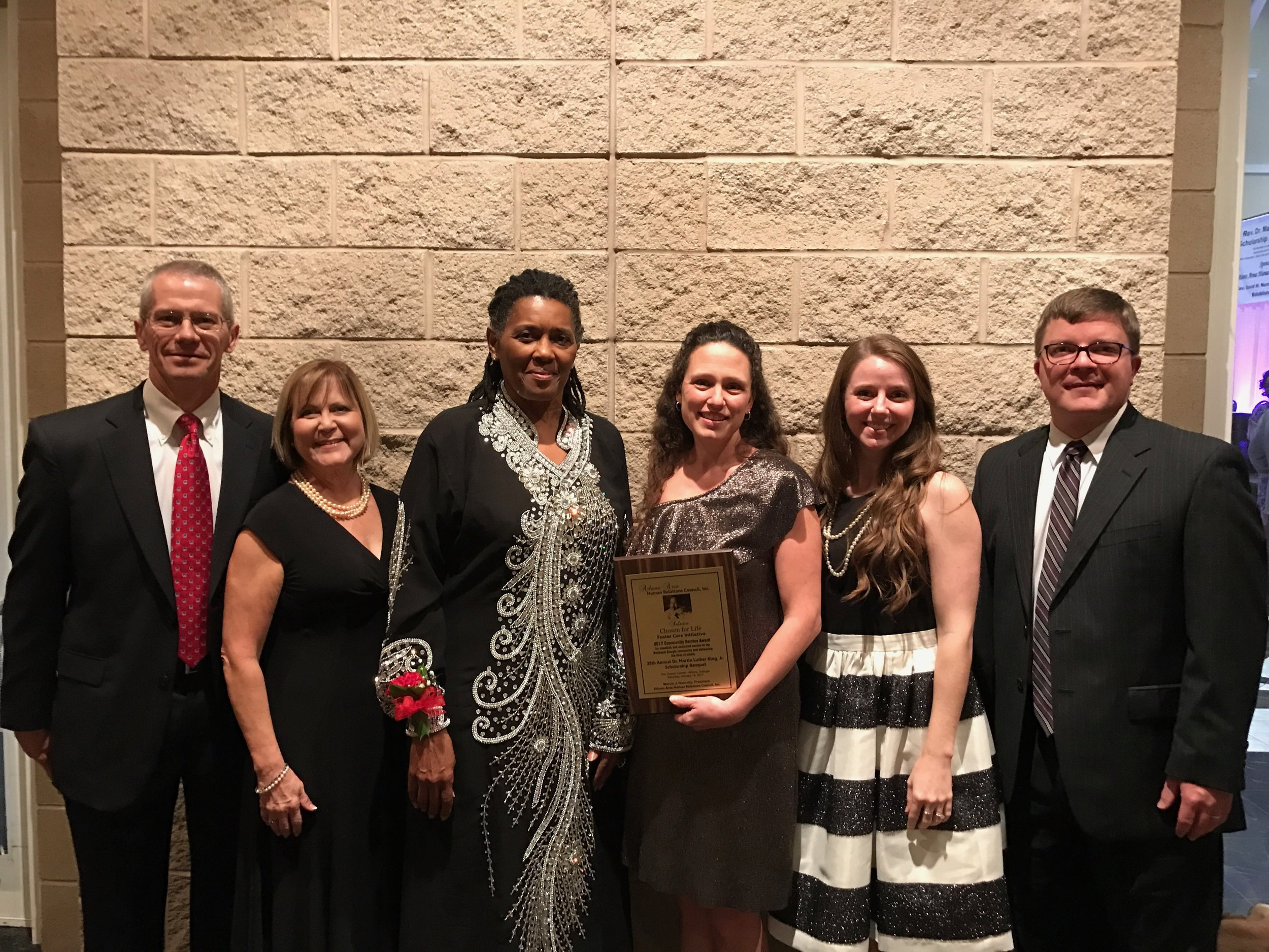 Chosen for Life Chairman of the Board and Vice Chairwoman, Bryan and Lisa Miller, joined Chosen for Life staff at the AAHRC's banquet as Kelly Brooks accepted the Community Service Award for the Chosen for Life Ministries Foster Care Initiative.