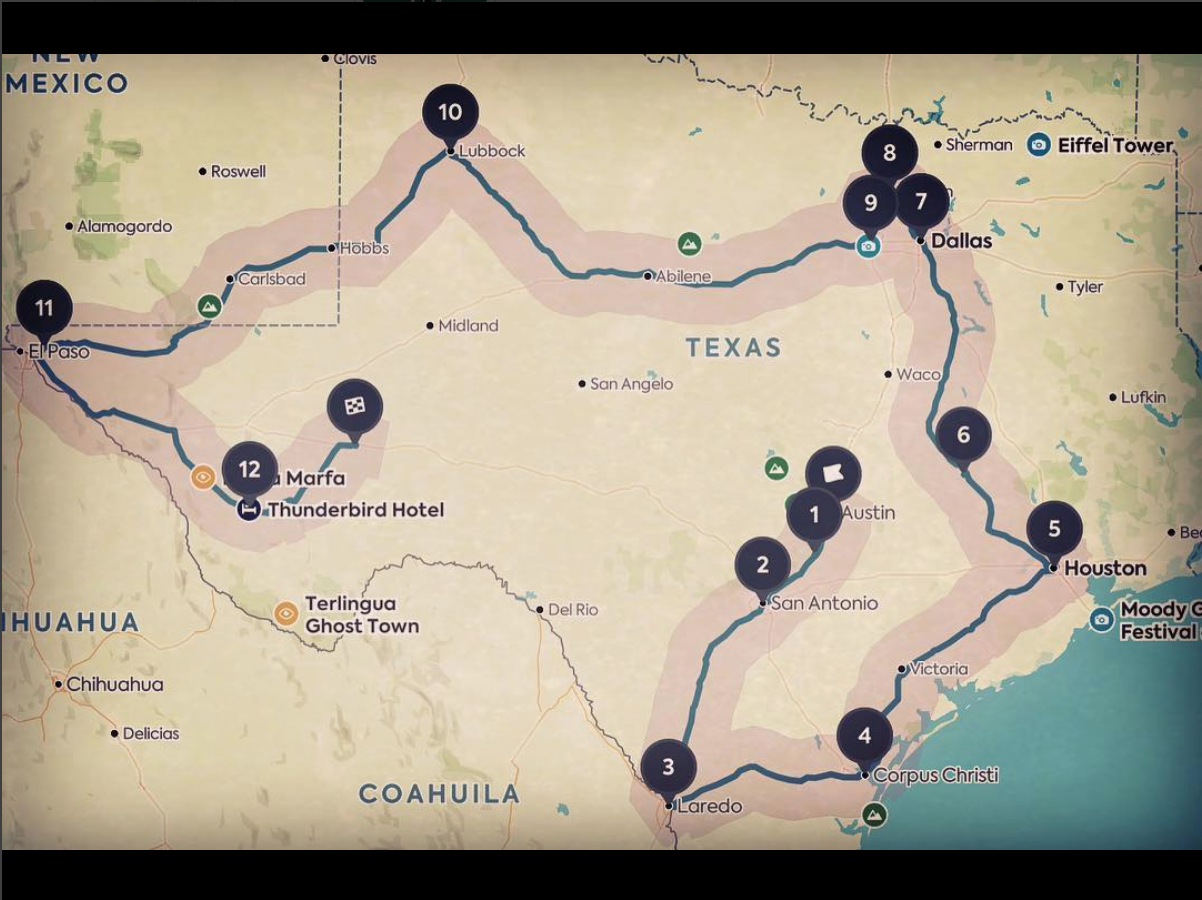 Proposed tour route for Summer 2019