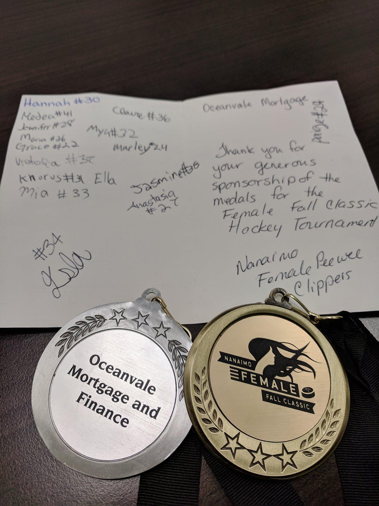 2018 Female Fall classic tournament medals