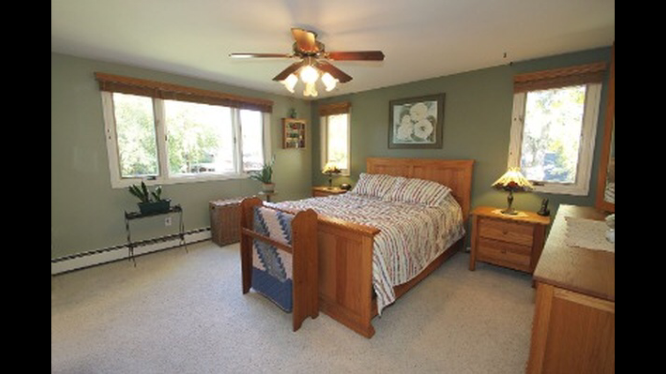 The master bedroom was large but needed some updating with the flooring and paint on the walls.