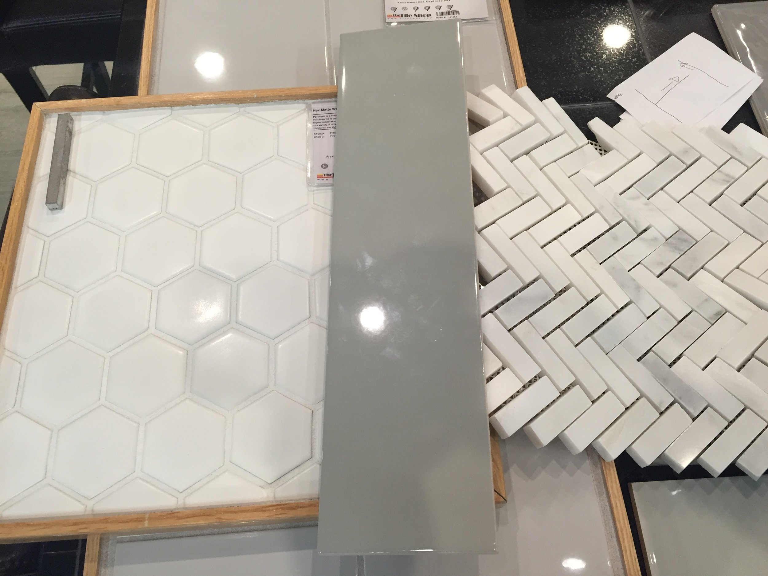 Master bathroom tile selection from The Tile Shop and Home Depot.