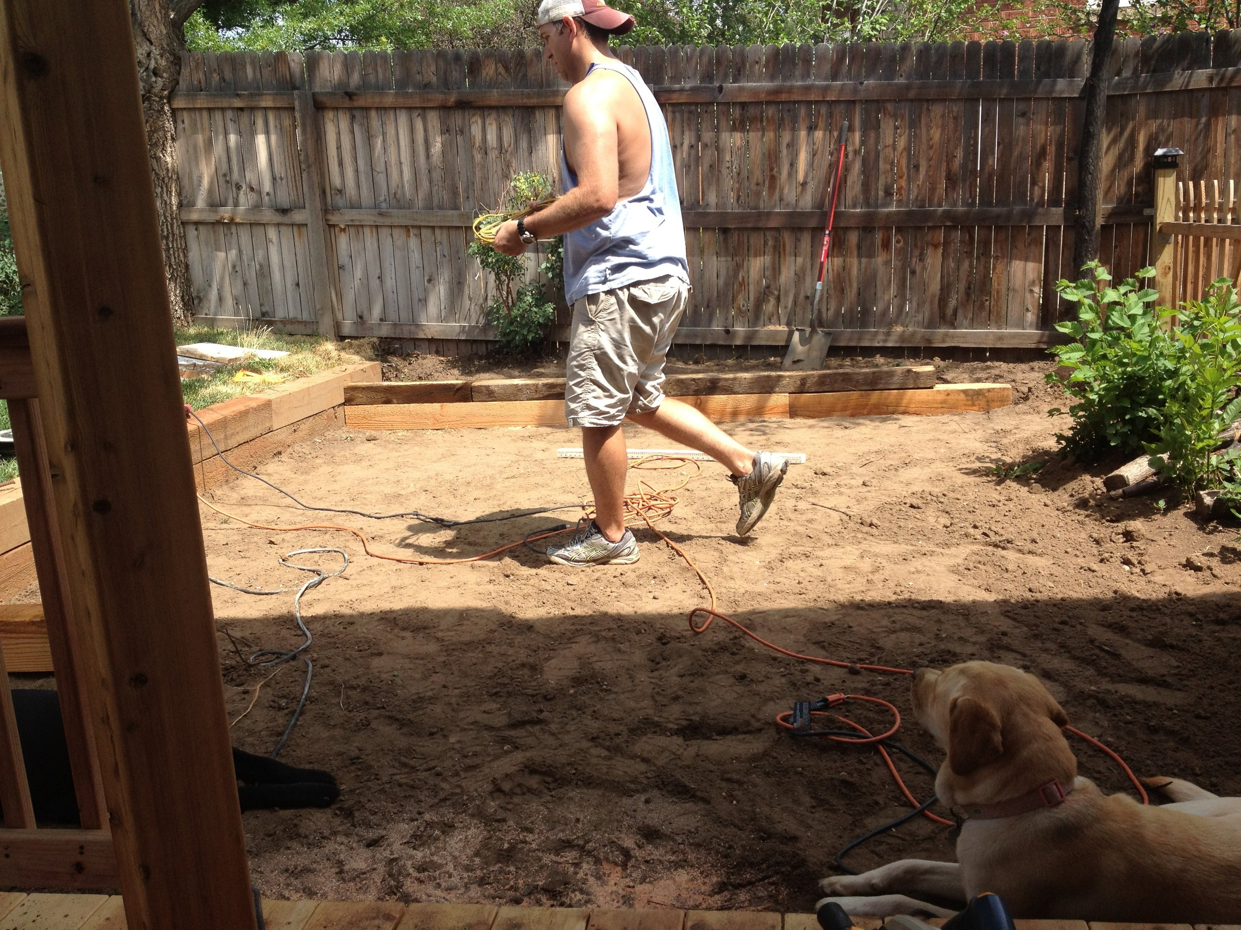 DIY flagstone patio for the outdoor dining area