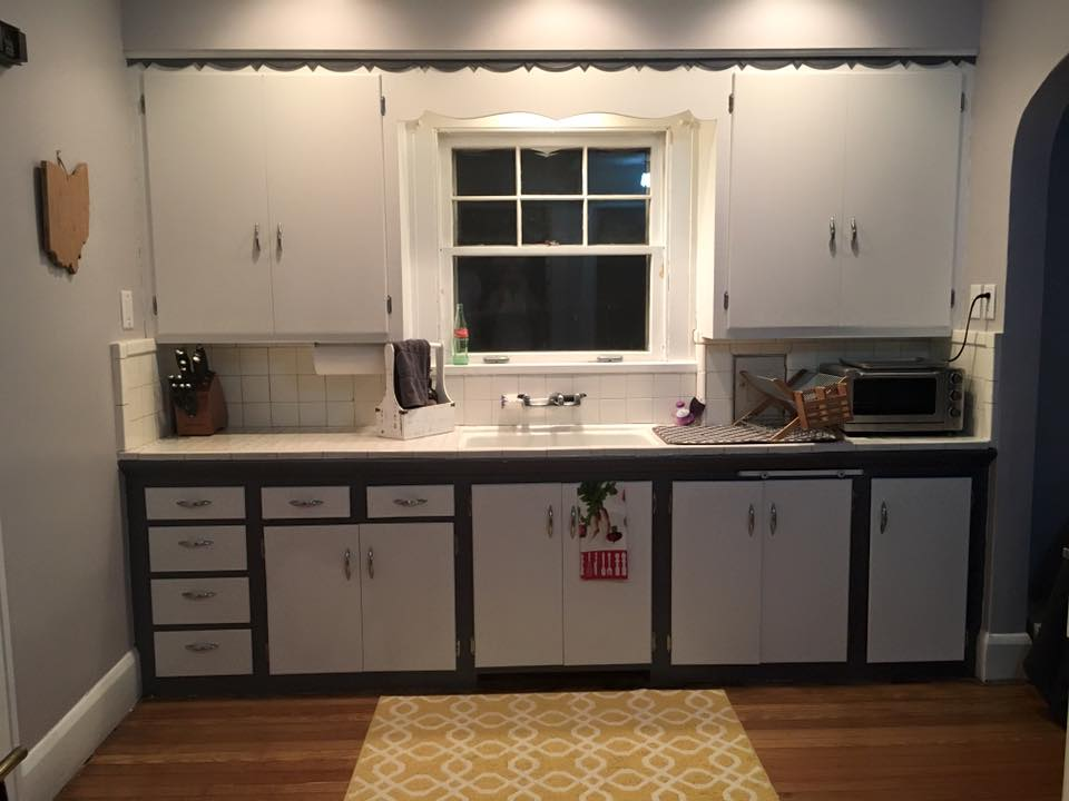 Before image of the original kitchen in this 1920s colonial