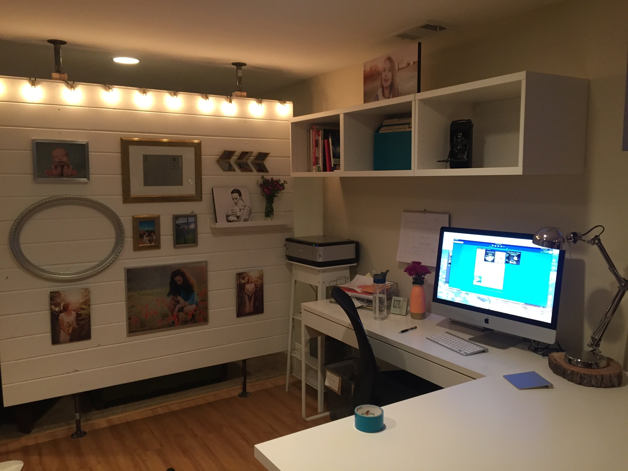 DIY tongue and groove wall partition in the basement photography studio and office