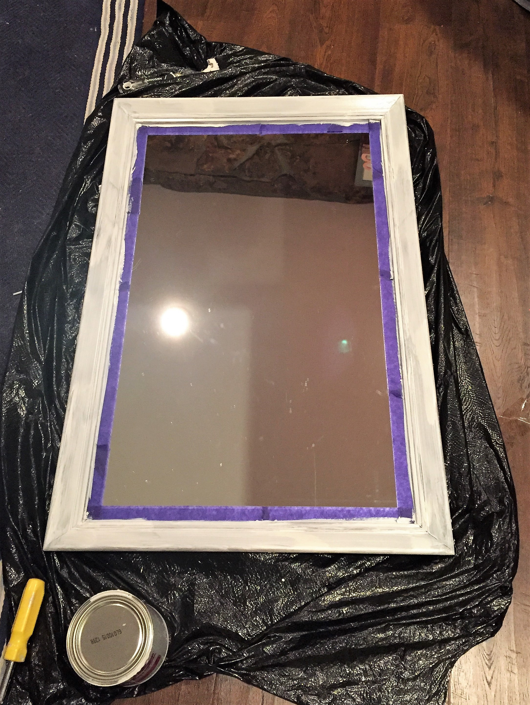 Mirror after the first coat of Kilz