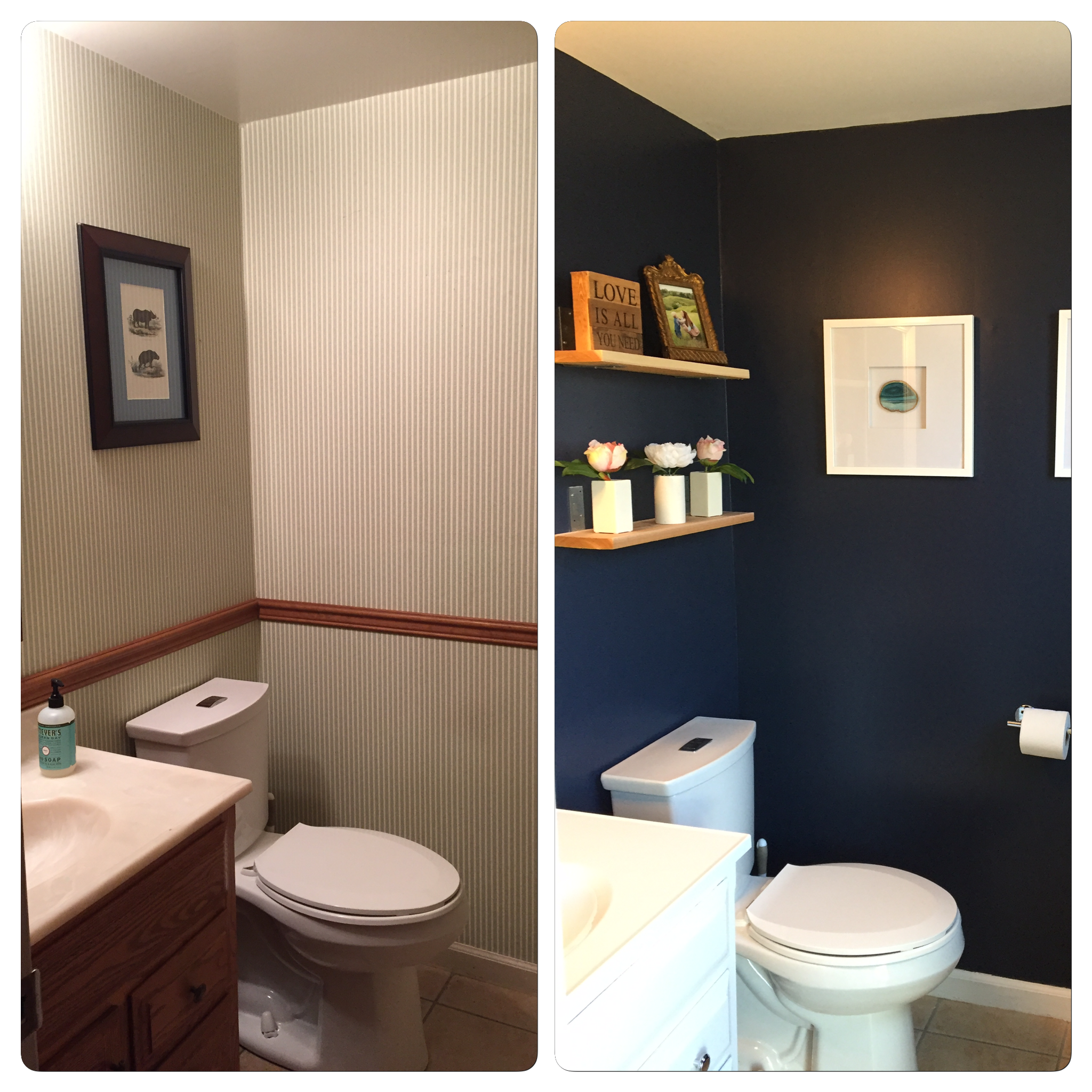 Before and After half bathroom renovation | Building Bluebird