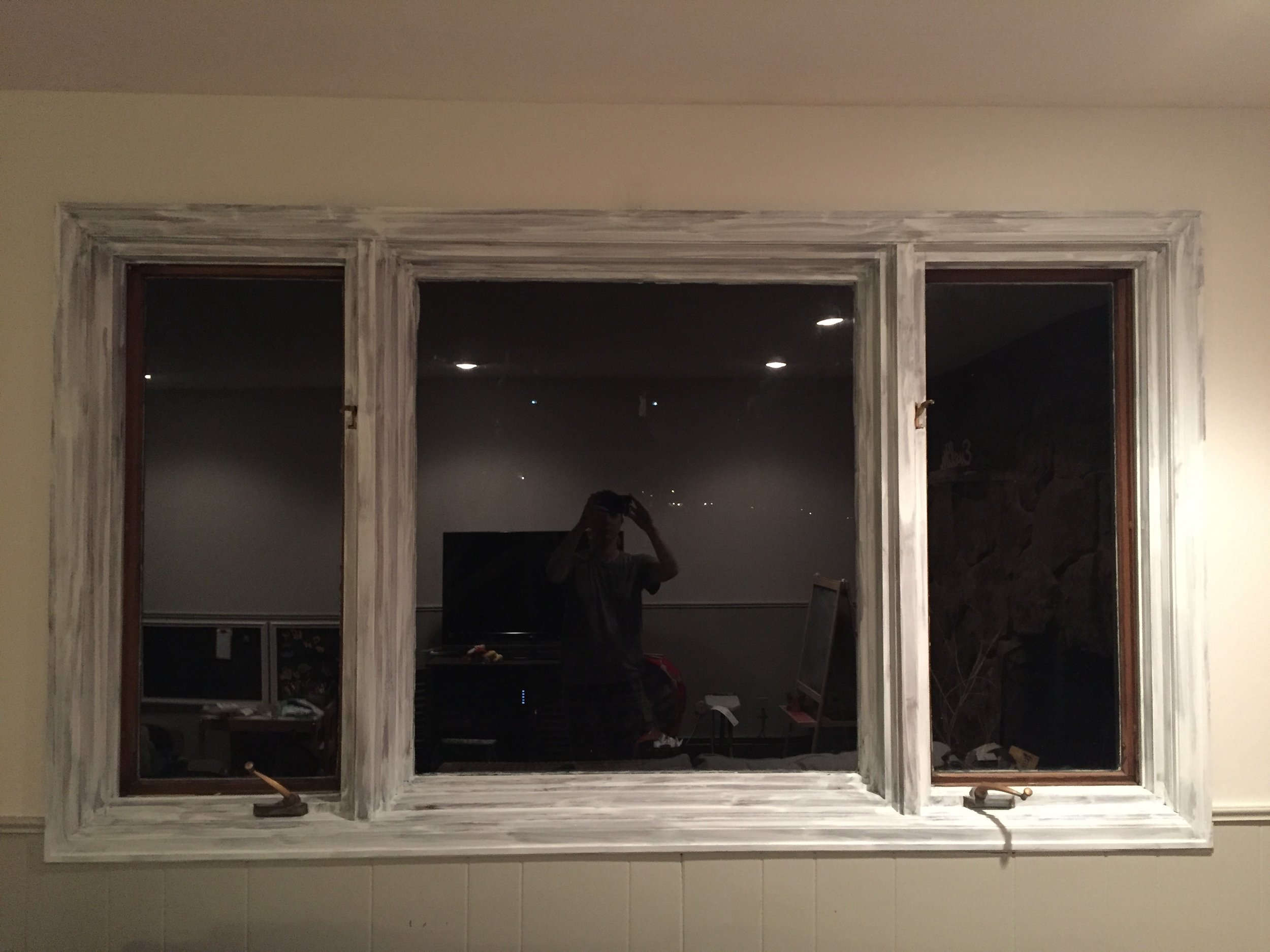 First coat of primer on the window