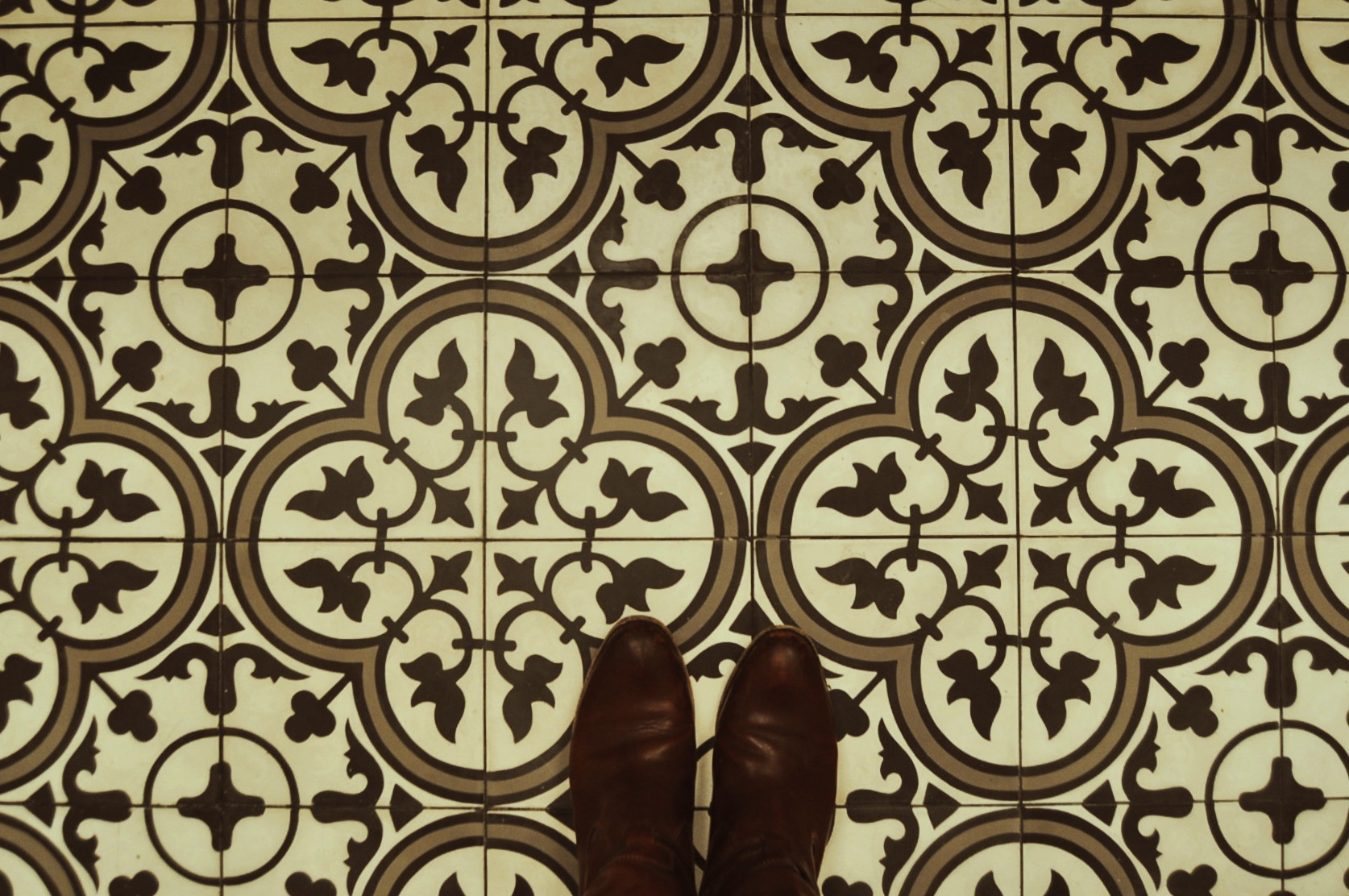 Cement tiles on the floor