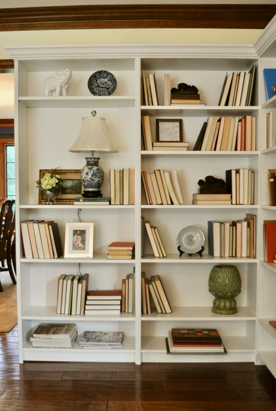 Built in shelving with Ikea bookcases