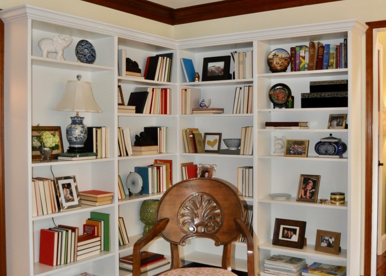 Ikea shelving to create a built in library