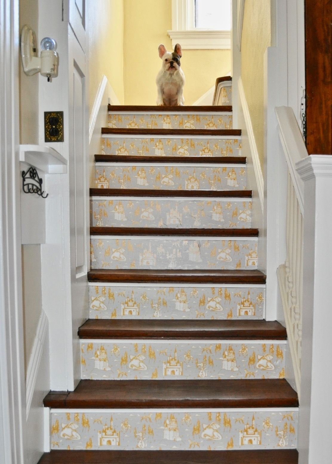 DIY wallpaper installation on your stairs using Tempaper Designs wallpaper.