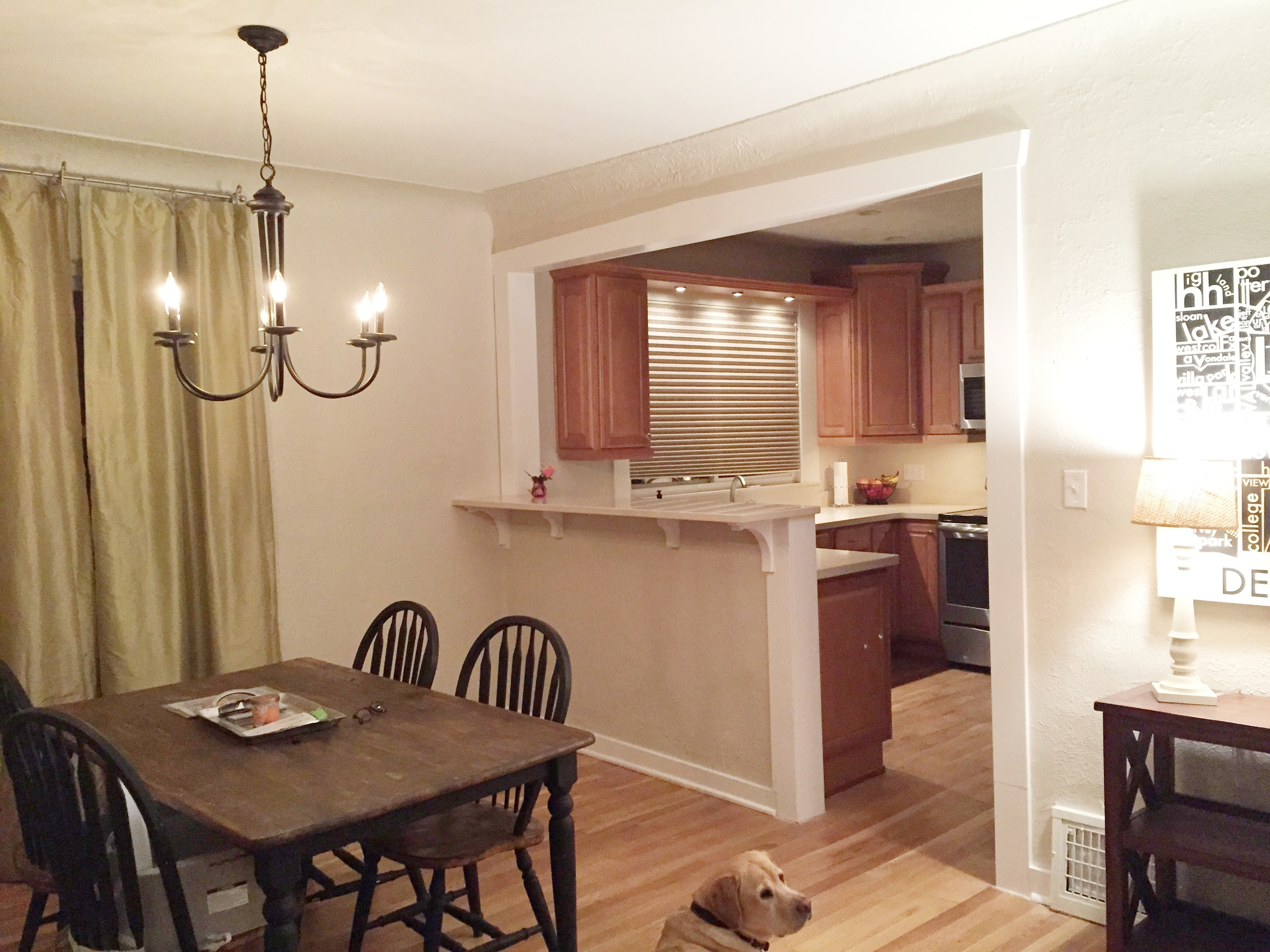 Breakfast bar from kitchen into dining room