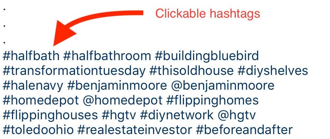 Clickable hashtags