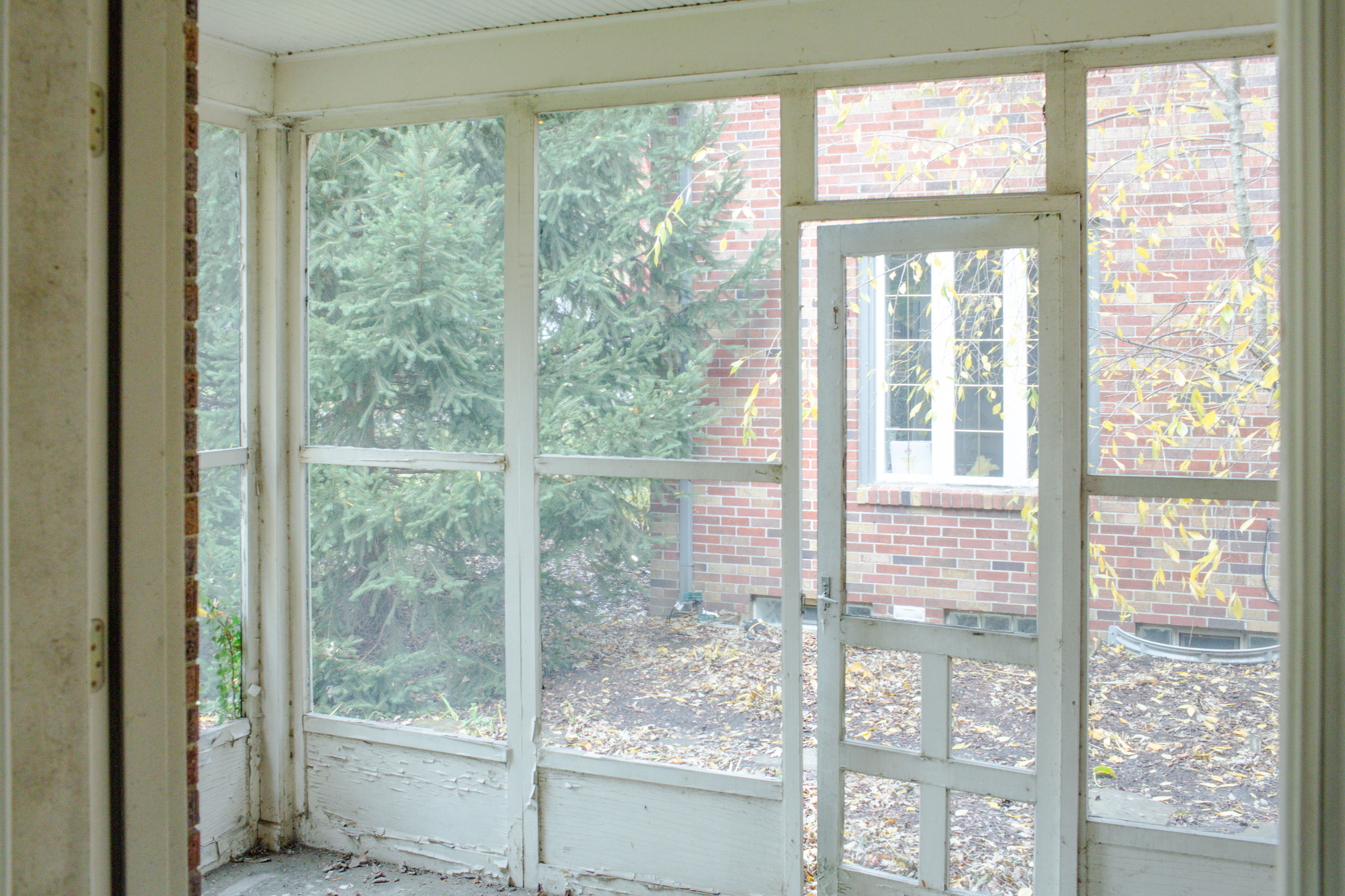 Weathered and peeling screened in porch