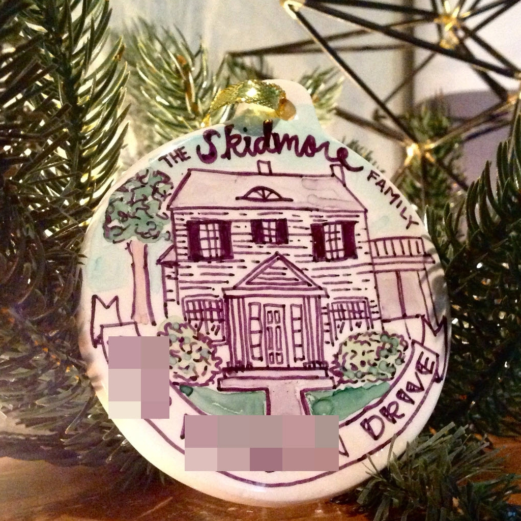 Hand painted ornament with my brothers first home.