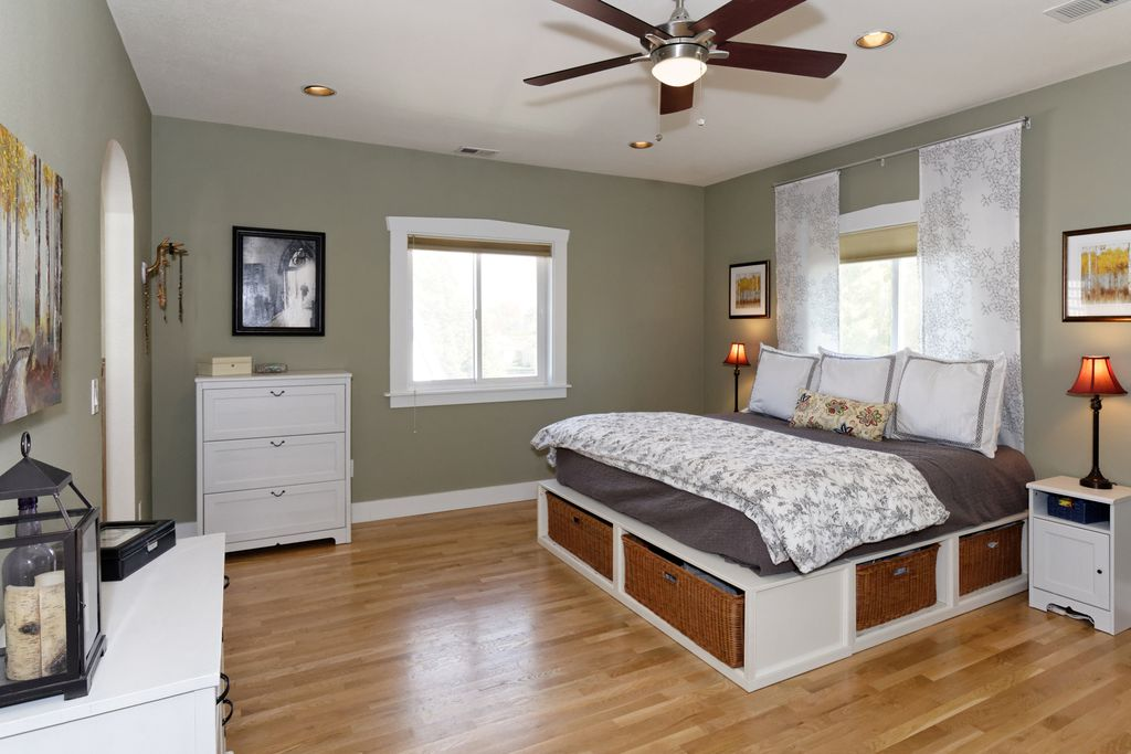 Master bedroom when we staged it to sell. The bedroom is on a different wall and it is decluttered.