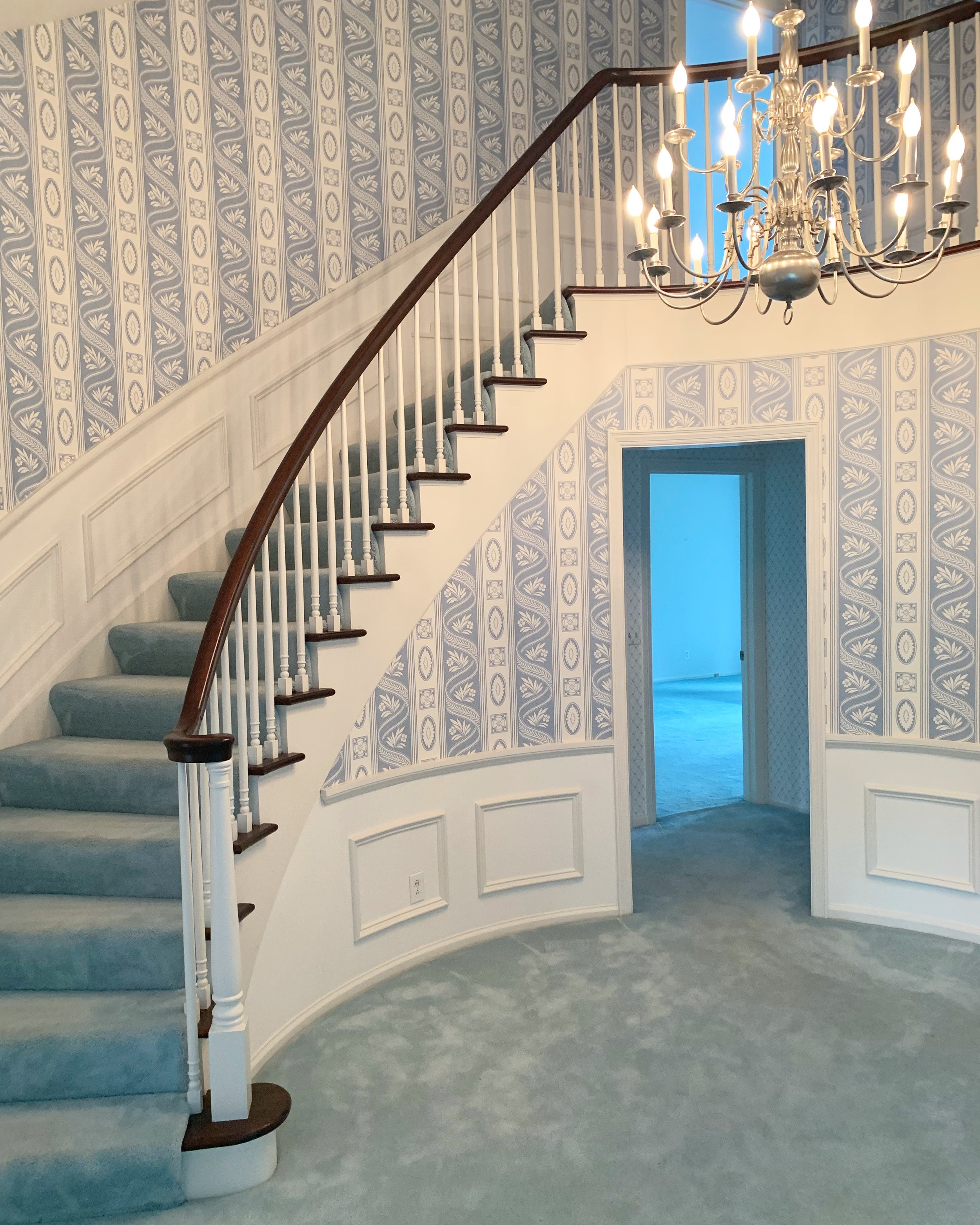 The wallpaper in the foyer is just one of my wallpaper removal projects on the list.