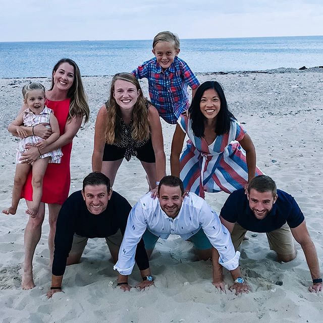 The kids beach pyramid tradition continues! 🏖 The Mahoney kids are spread out across the country and it is always a special week when we can spend it together on the Cape. ☀️ This year we got to celebrate the marriage of Jonny and Eilee with the whole Mahoney family on the beach! 💍 Welcome to the pyramid, Eilee! #mahoneysrule