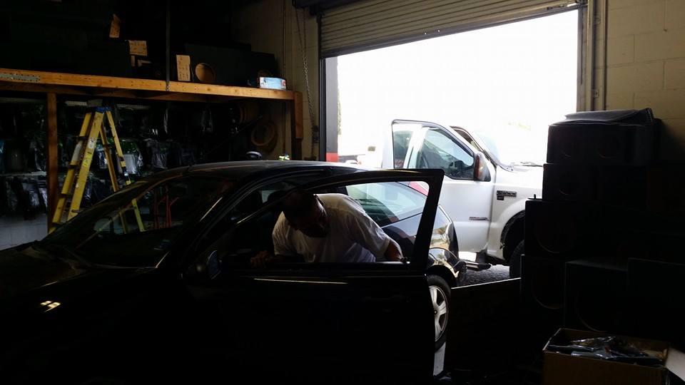 Tinted car windows at Stereo Depot.