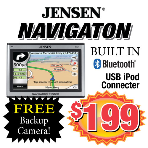 Get a Jensen Navigation system installed in your vehicle with built in Bluetooth integration for only $199. Come to Stereo Depot in San Diego today to get a new navigation system.