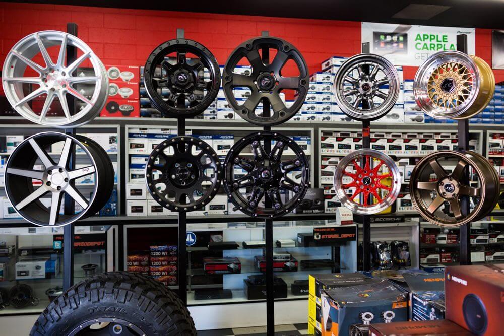 car rims and car wheels at Stereo Depot in San Diego.