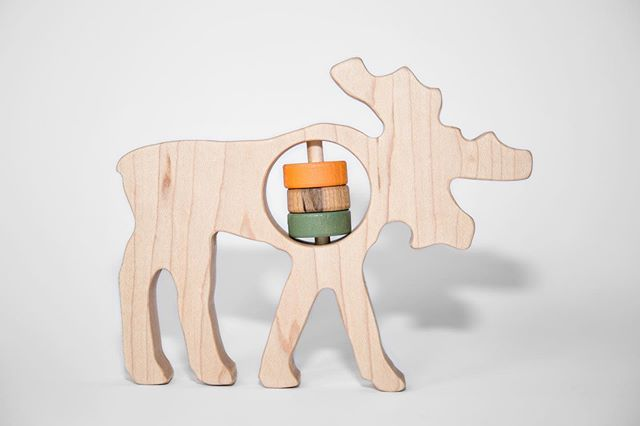 Bull moose develop muscular necks to help hold up their enormous paddles. A full grown moose's antlers can weigh about 40 pounds and reach up to 5 feet wide... my question is how do they get through doors...#amoosing #handmade #woodentoys #patriotbabytoys #mainemade #madeinamerica