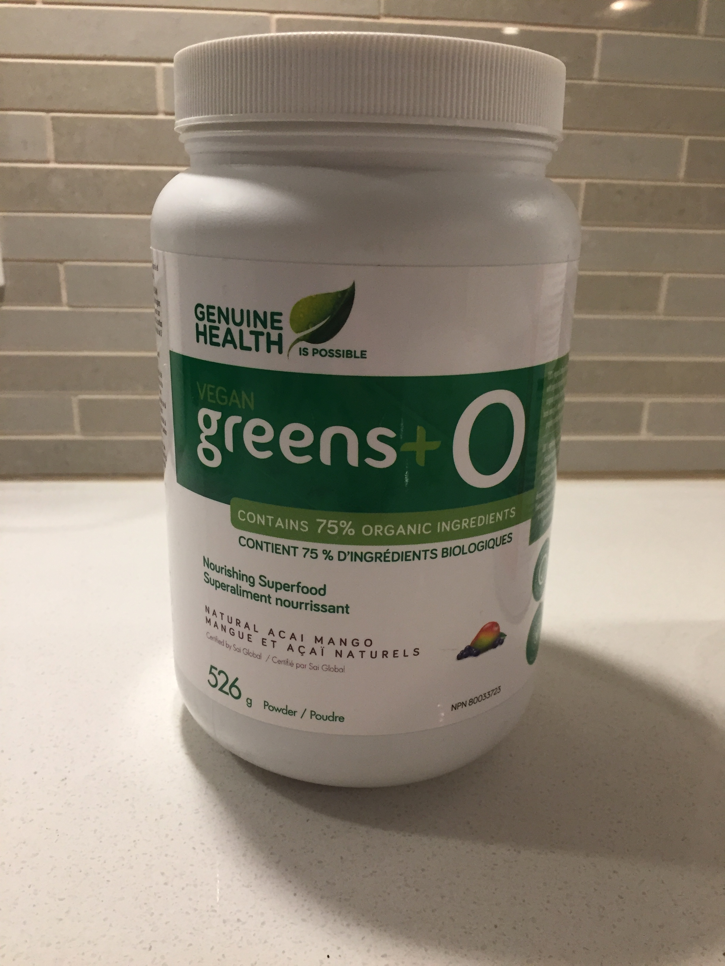 One of our favourite supplement brands. Genuine Health has both a regular and organic version of veggie greens. We use veggie greens to top off our daily intake or on days that we are traveling/fasting.