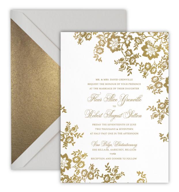 Flour Luxury Foil Letterpress Wedding Invitation