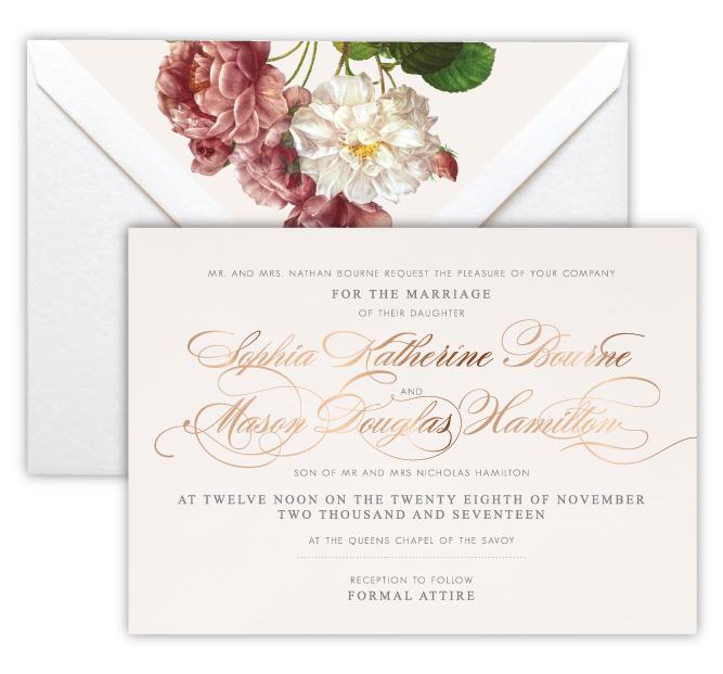 Sophia Luxury Foil Letterpress Wedding Invitation