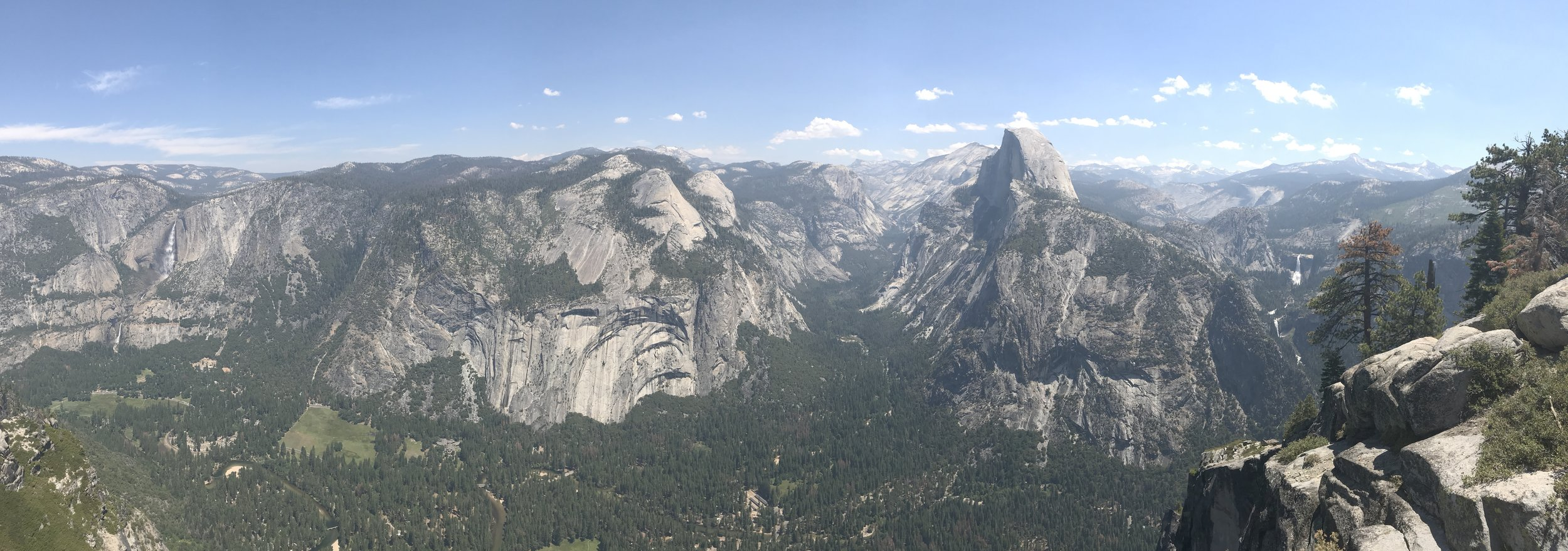 Yosemite Falls on the left, Half-dome in the middle, and Vernal Falls on the right.