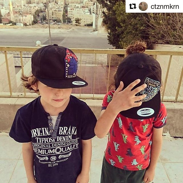 #Repost @ctznmkrn ::: A great #HerfaSummer contest (extended until July 9th) entry featuring two fly looking kids rocking our new youth black snapbacks hats (ages 6-13). --------------------------- KAREN'S POST: How to look cool during an Amman heatwave - junior snapbacks Dead Sea (l) and Amman (r) designs @herfaheritage #HerfaSummer
