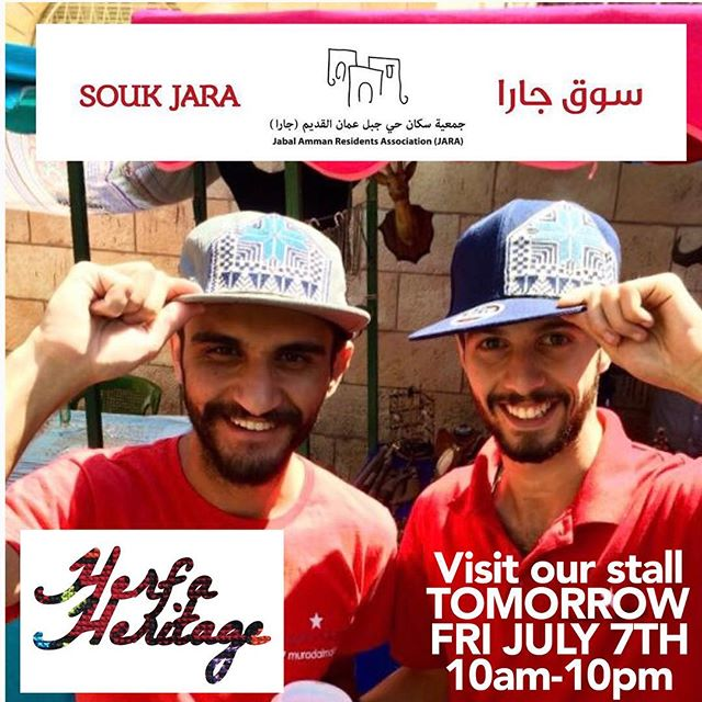 REMINDER - we are returning to @souk_jara (off Rainbow St) TOMORROW (Friday July 7th) for one day only. Please come hang out with us and peruse our new batch of incredible snapback hats, sweet t-shirts and tanks, brand new sleek women's v-necks, and more. We'll also be selling our friend's brand @nuunbag. Visit our FB event at the link below for a secret password discount code. Also remember - our #HerfaSummer contest ends July 9th. ----------------------------- https://www.facebook.com/events/659810670892693/?ti=icl ----------------------------- #soukjara #HerfaSummer #herfaheritage #handmadebeauty #madeinjordan #livelovejordan #handmadewithlove #ammanfashion #ethicalfashion #simplyamman #snapbacks #hats #shirts #tanktops #tanks #amman #jordan #usa #kickstarter #funded #embroidery #smallbiz #livelovejordan #summertime #bawabetalsharq #tribalogy #womenscooperative #pockettees