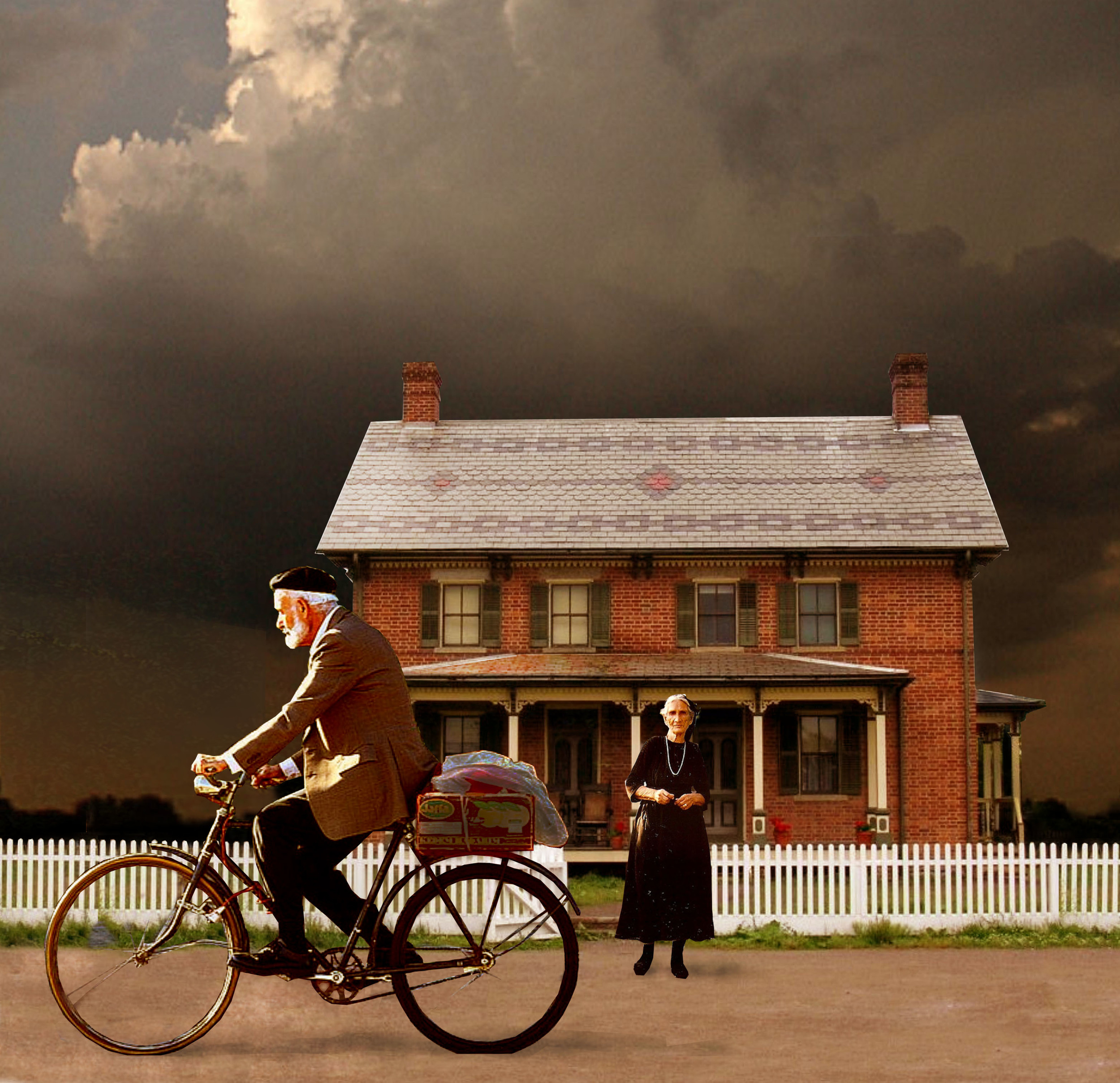 My illustration: Henry leaves on his bike for work as Irene watches.