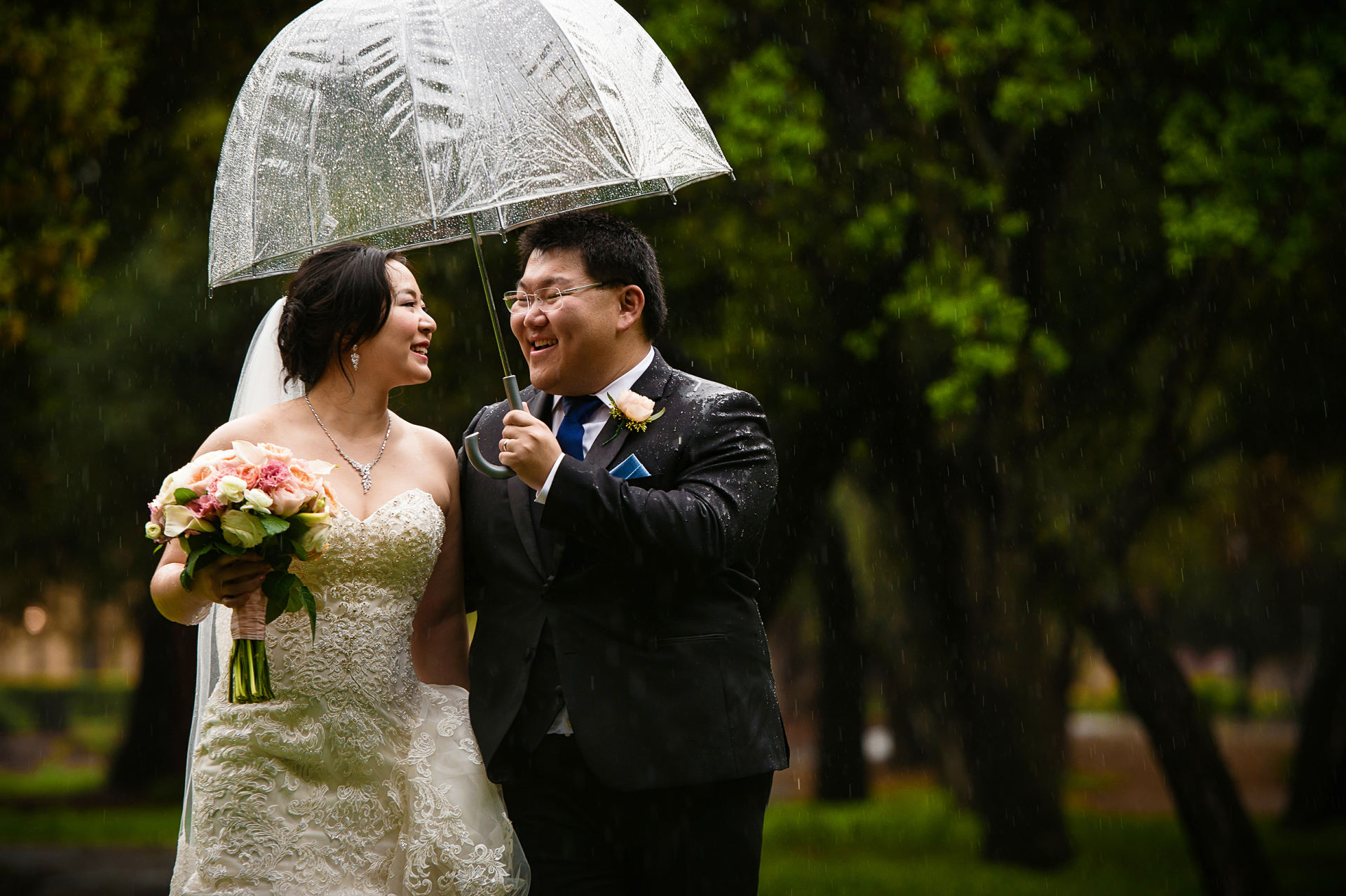 Stanford memorial church wedding on a rainy day!
