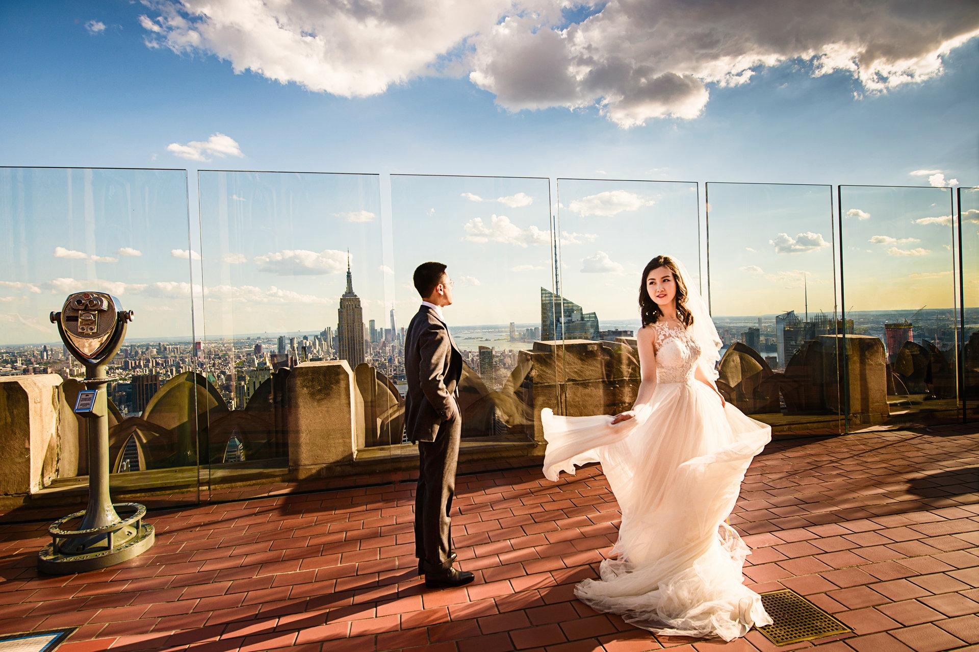 纽约曼哈顿洛克菲勒楼顶婚纱照 new york pre wedding