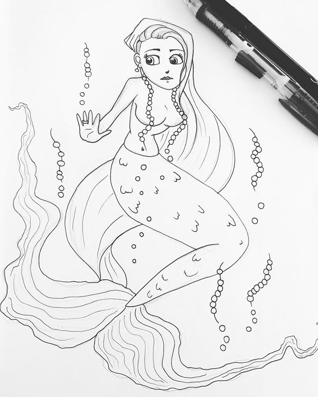 """So I had no idea """"MerMay"""" was a thing. It's pretty late into it, but I still want to do it. So here's my first sketch for day one Extravagant. She's not done yet though 😅 so even if I don't finish in time, I still want to keep going with the prompt. It sounds fun. I'm thinking I might sketch out the days and try and practice my digital illustration with them. 😁 . . . #art #artistsoninstagram #artist #instaart #instaartist #doodle #sketch #sketchbook #drawing #draw #pen #penart #penandink #mermay #mermay2019 #mermaid #extravagant #pretty #practice #fun"""