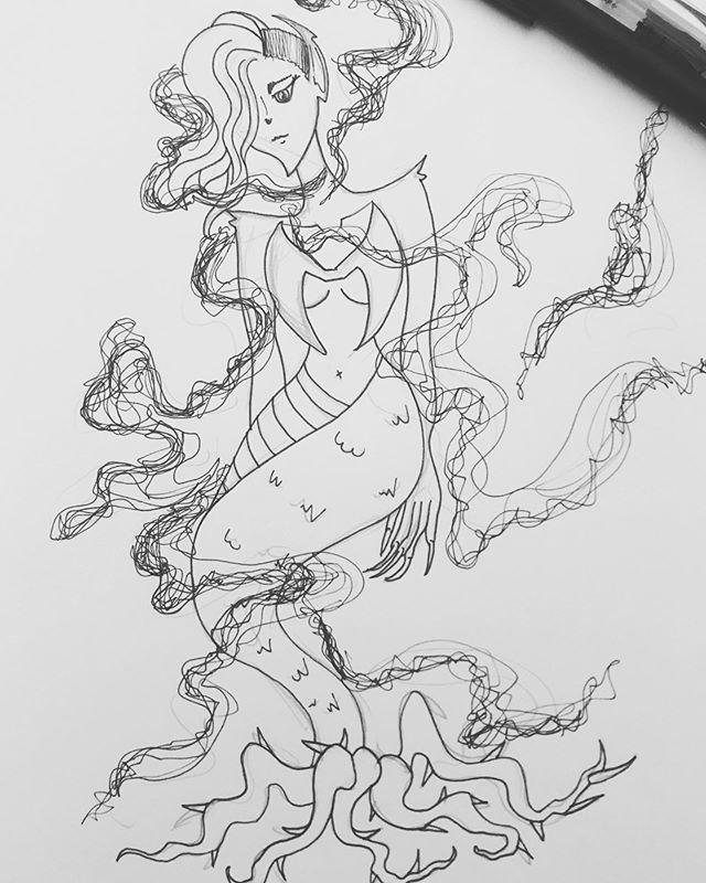 """Day 2 of MerMay """"Rascal"""" 😈 . . . #art #artistsoninstagram #artist #instaart #instaartist #doodle #sketch #sketchbook #drawing #draw #pen #penart #penandink #mermay #mermay2019 #mermaid"""