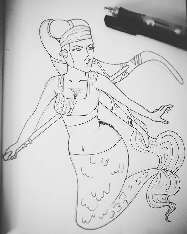 """MerMay day 4 """"Star Wars"""" . . . #art #artistsoninstagram #artist #instaart #instaartist #doodle #sketch #sketchbook #drawing #draw #pen #penart #penandink #mermay #mermay2019 #mermaid #starwars #fun"""