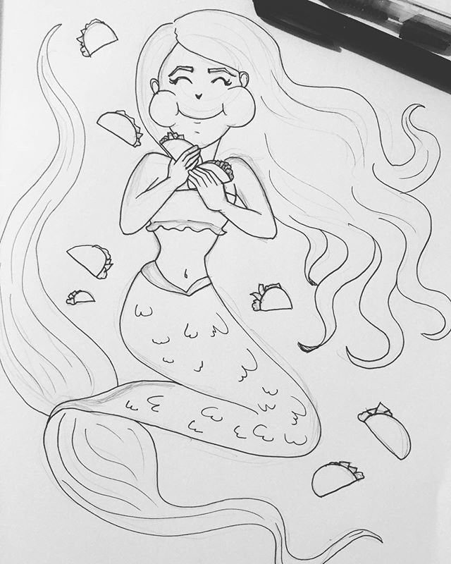 """MerMay day 6 """"Taco Tuesday""""...even though it's not Tuesday. Any day is a good day for tacos 🙂 . . . #art #artistsoninstagram #artist #instaart #instaartist #doodle #sketch #sketchbook #drawing #draw #pen #penart #penandink #mermay #mermay2019 #mermayday6 #mermaid #tacos #food #yum"""