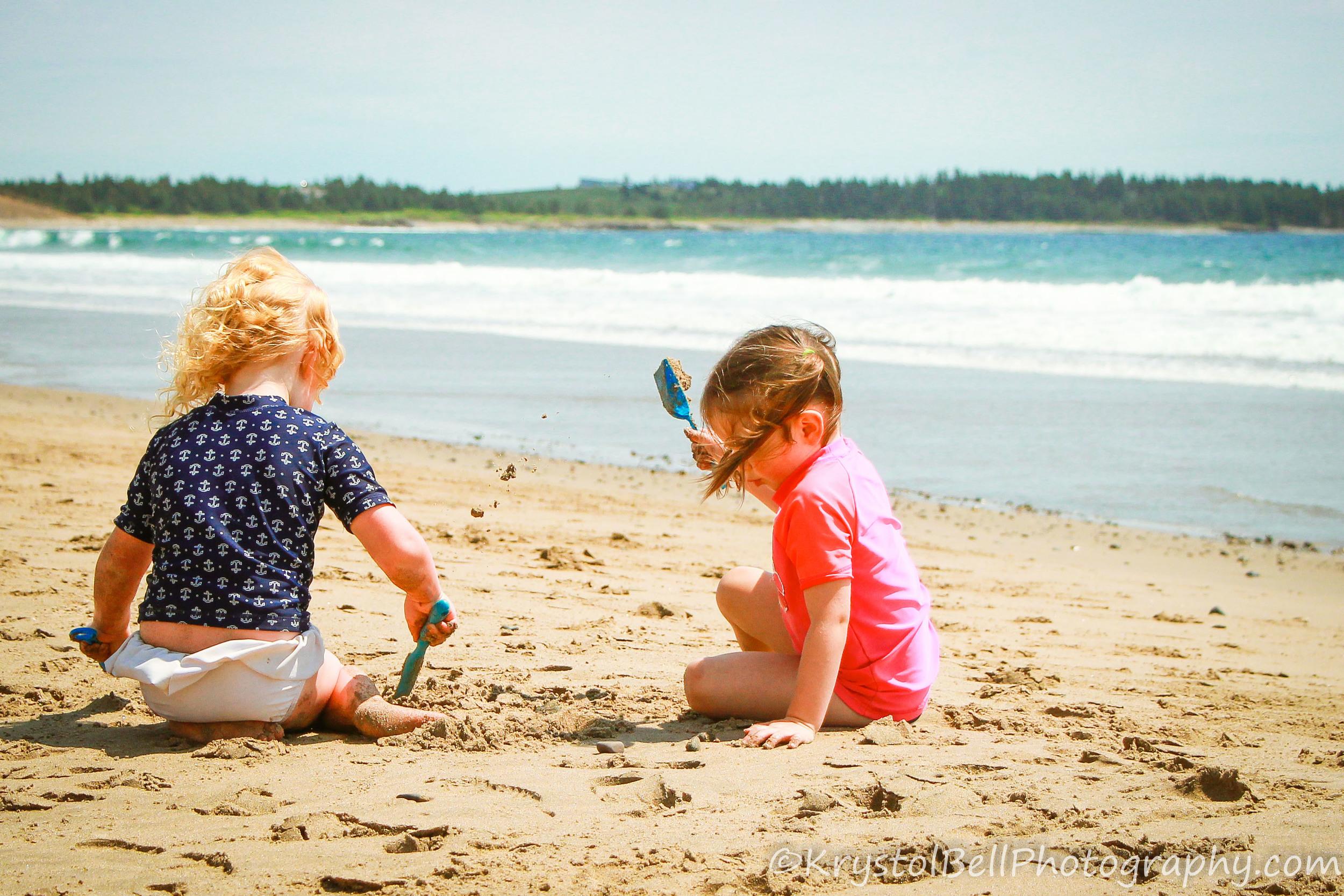 Braegha and Hilary loving the sand.