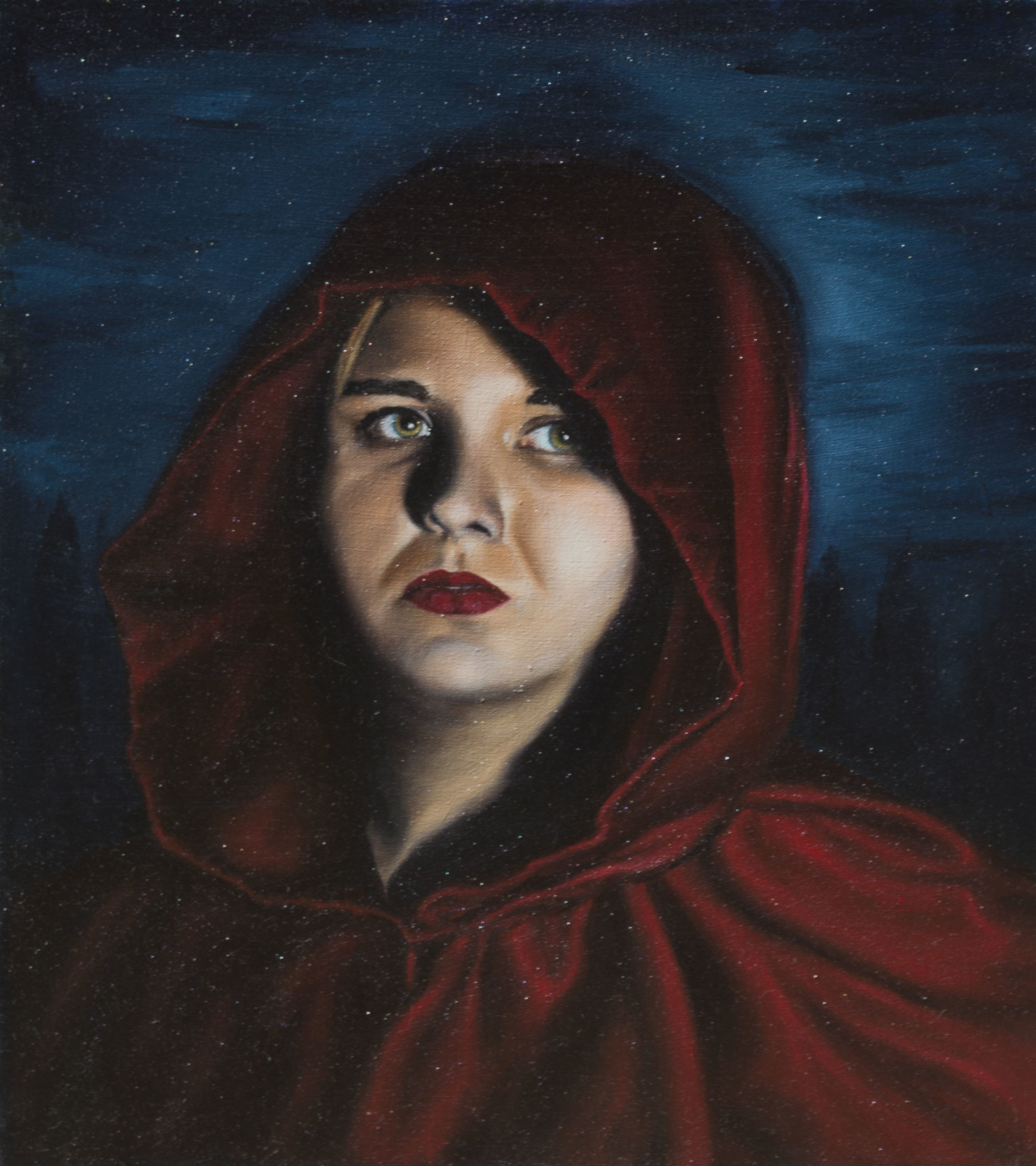 "Self-Portrait: Little Red  Oil on Canvas  2015  16""x18"""